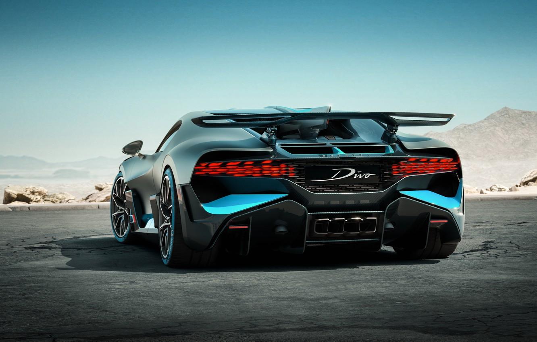 Photo wallpaper view, back, hypercar, Divo, Bugatti Divo, 2019 Bugatti Divo