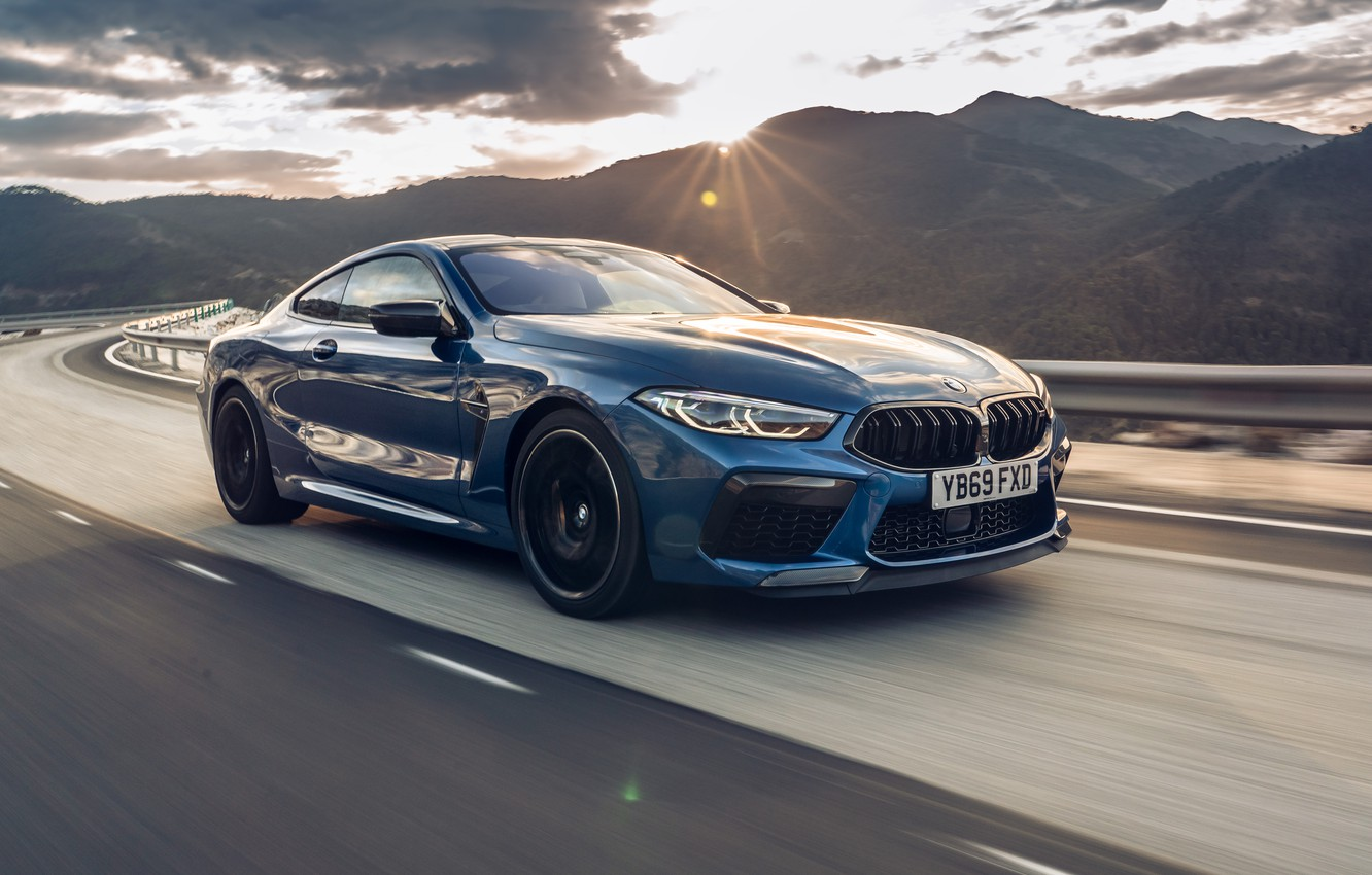 Photo wallpaper sunset, speed, BMW, Coupe, Competition, UK-Spec, 2019, BMW M8, F92