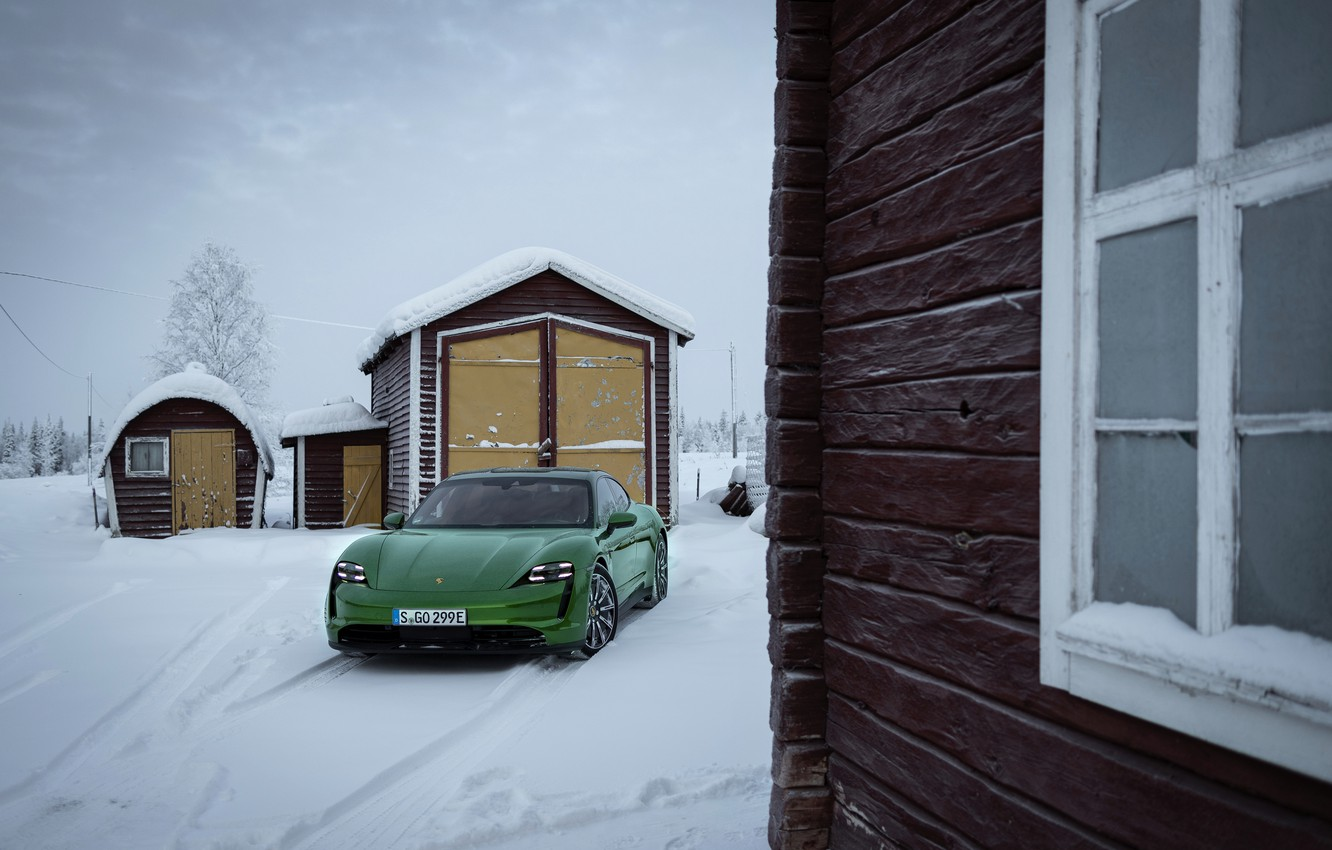 Photo wallpaper snow, house, wall, Porsche, green, structure, 2020, Taycan, Taycan 4S