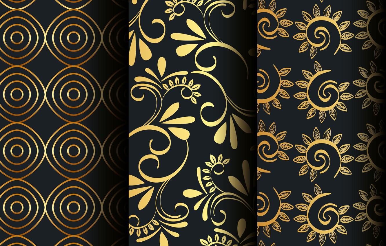 Wallpaper Flowers Background Pattern Black Golden Patterns
