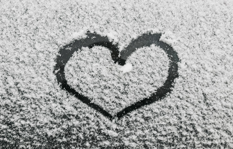 Photo wallpaper winter, snow, love, heart, love, heart, winter, snow, romantic