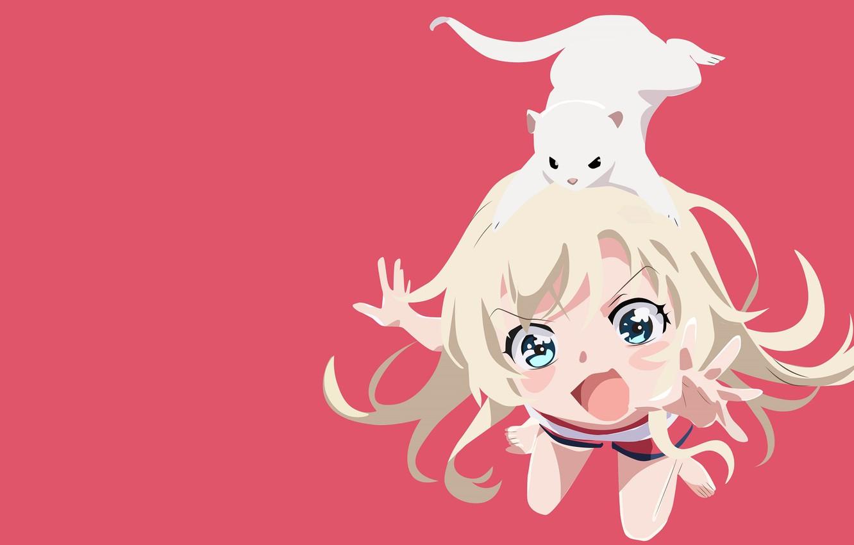 Photo wallpaper girl, pink background, animal