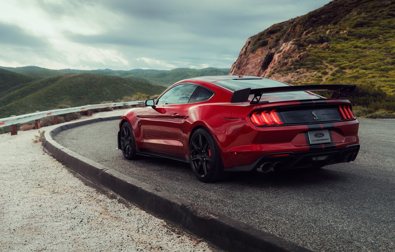 Photo wallpaper Mustang, Ford, Shelby, GT500, wing, bloody, 2019