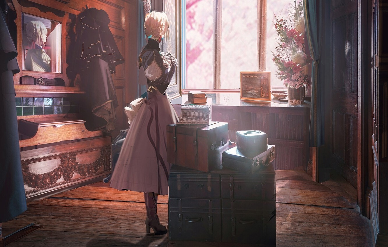 Photo wallpaper mirror, wardrobe, in the room, window, suitcases, iron hand, from the back, Violet Evergarden, the …