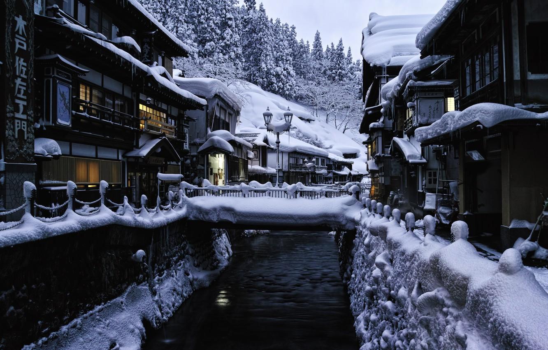 Photo wallpaper winter, snow, landscape, home, Japan, lights, bridges, source, hotels, Yamagata, Ginzan Hot Spring Bath
