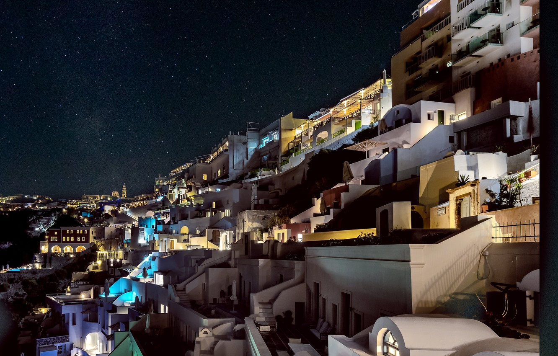 Photo wallpaper night, lights, home, Santorini, Greece, slope, Thira