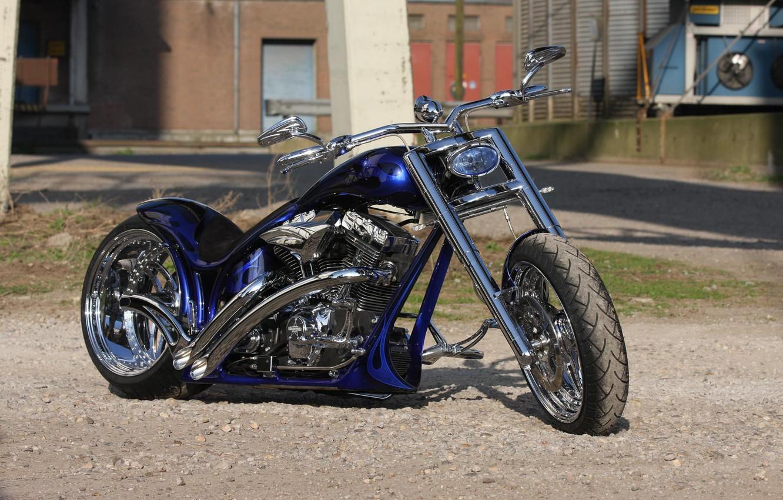 Photo wallpaper Harley Davidson, Harley-Davidson, Custom, Motorcycle, Thunderbike, By Thunderbike, Blue Flames