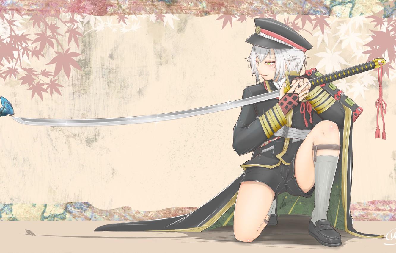 Photo wallpaper butterfly, shorts, katana, boy, cap, white hair, military uniform, maple leaves, on my knees, Touken …