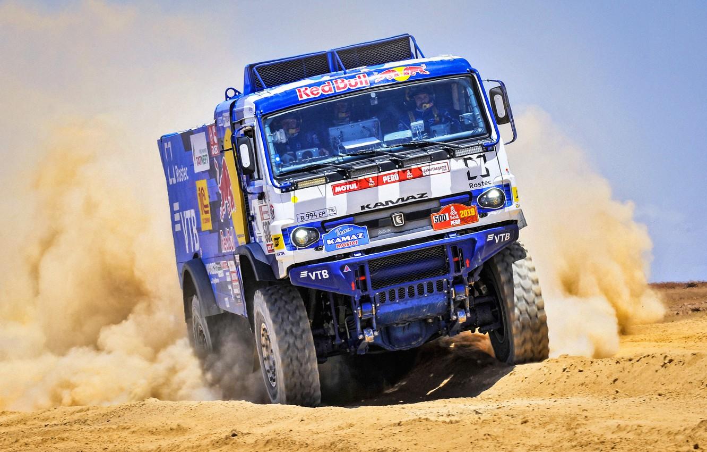 Photo wallpaper Auto, Dust, Sport, Machine, Truck, Master, Russia, 500, Kamaz, Rally, Dakar, KAMAZ-master, Dakar, Rally, KAMAZ, …