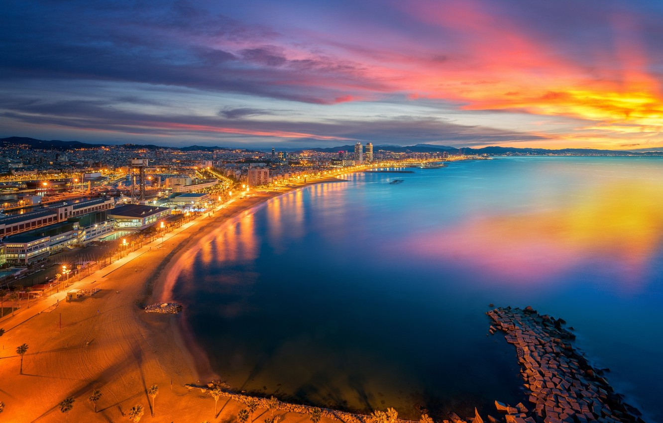 Photo wallpaper the sky, sunset, the city, panorama, Spain, Barcelona