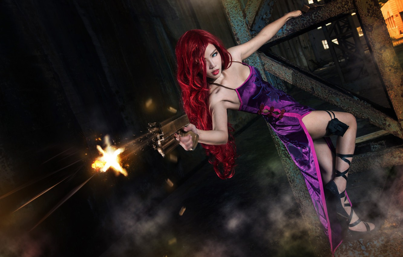 Photo wallpaper look, girl, weapons, background, fire, design, dress, shoes, shooting, heels, image, Asian, cartridges, redhead, character, ...