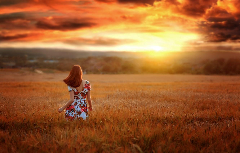 Photo wallpaper field, the sky, girl, sunset, nature, pose, photo, back, dress, Renat Fotov