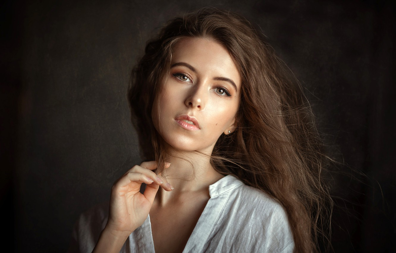 Photo wallpaper look, pose, background, model, portrait, makeup, hairstyle, brown hair, beauty, in white, Vika, Albert Forest, …