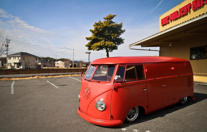 Photo wallpaper Volkswagen, Red, Bus