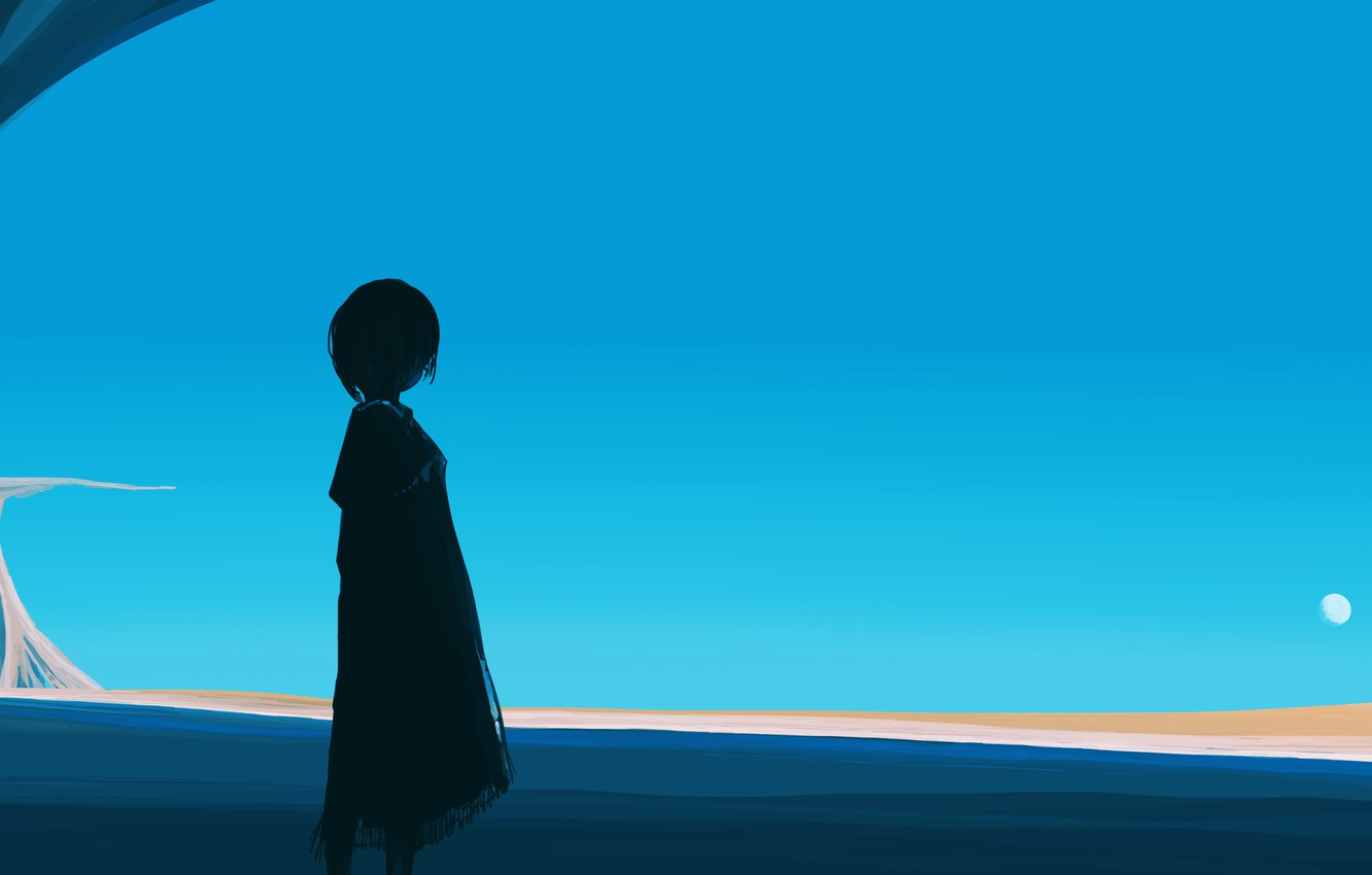 Photo wallpaper the moon, girl, one, looks