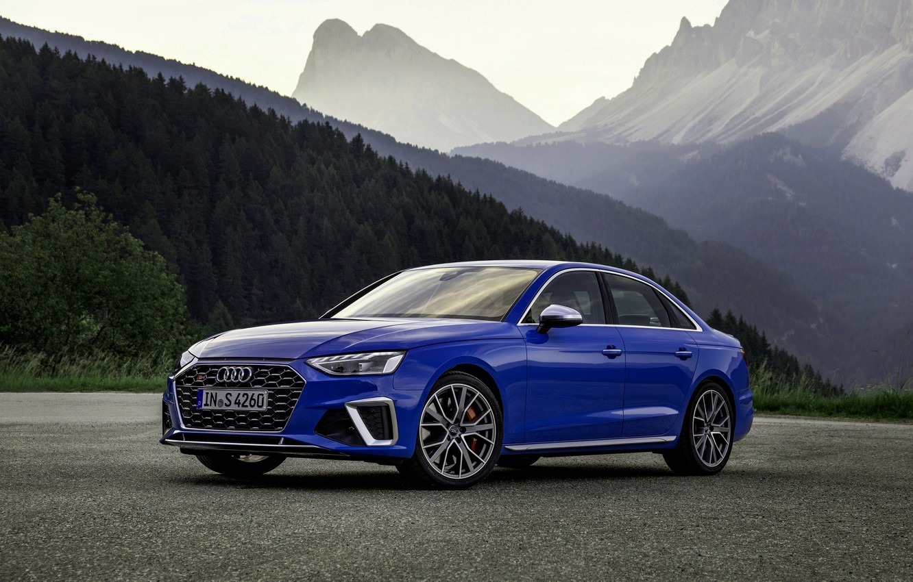Photo wallpaper blue, Audi, sedan, Audi A4, Audi S4, 2019, the silhouettes of the mountains