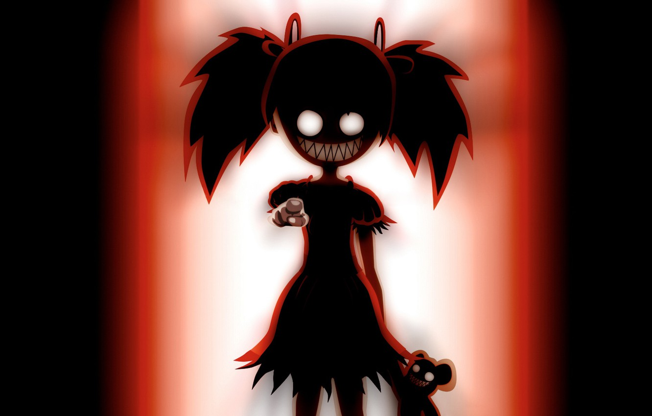 Photo wallpaper monster, gesture, baby, horror, burning eyes, toothy, hell of a grin, black silhouette
