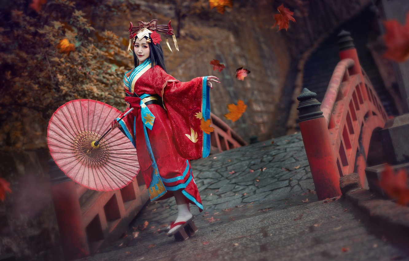 Photo wallpaper autumn, look, girl, red, face, style, background, dance, umbrella, makeup, hairstyle, costume, outfit, image, kimono, …