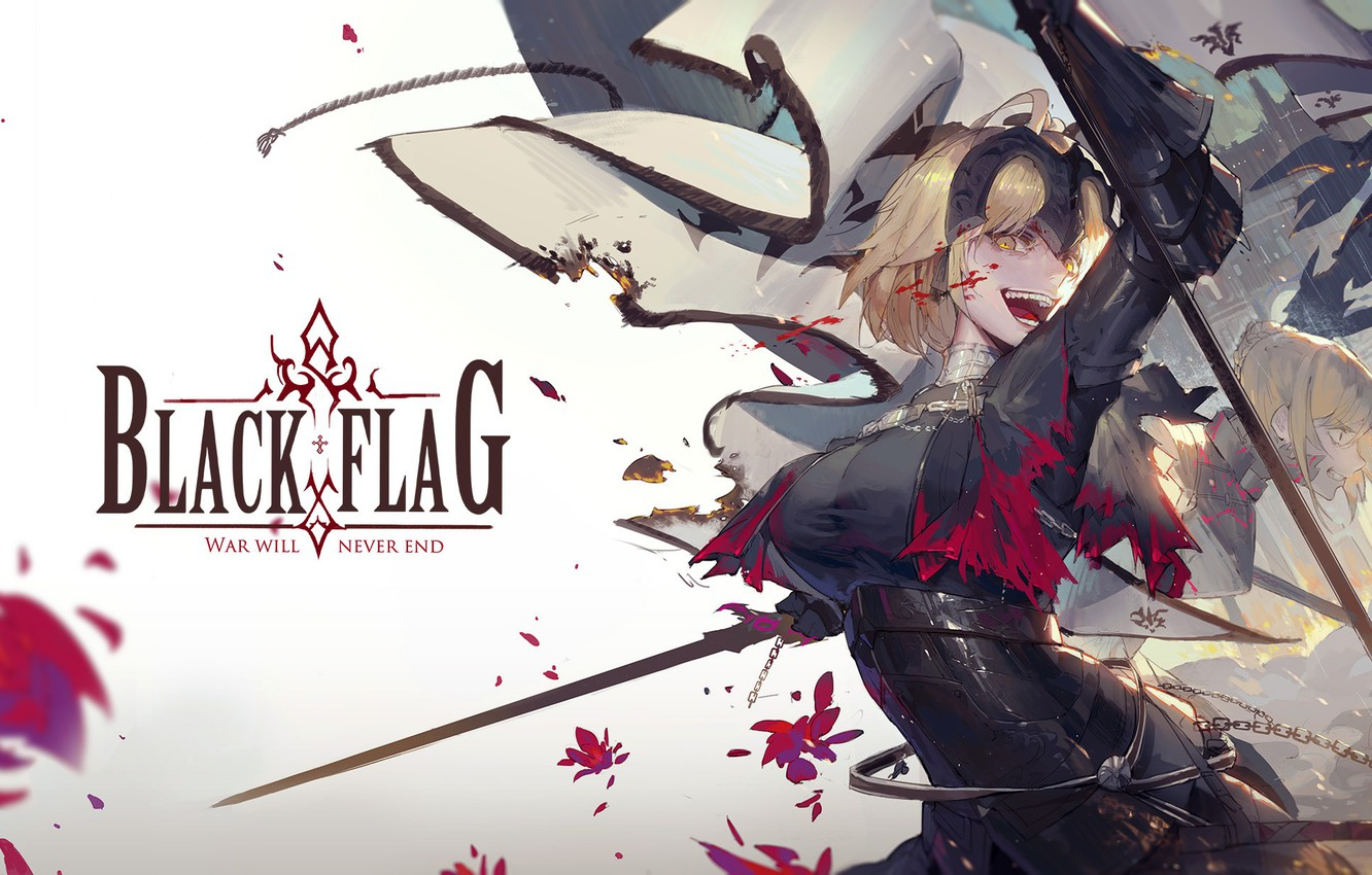 Photo wallpaper Flag, The saber, Joan of arc, Fate / Grand Order, The destiny of a great …