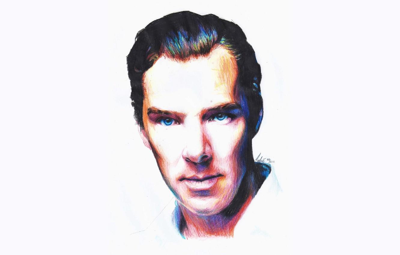 Photo wallpaper figure, portrait, Benedict Cumberbatch, Benedict Cumberbatch, colored pencils