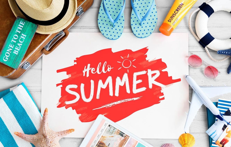 Photo wallpaper summer, photo, the inscription, hat, glasses, suitcase, tablet, slates
