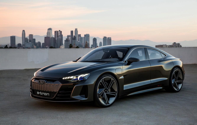 Photo wallpaper Audi, coupe, skyscrapers, 2018, e-tron GT Concept, the four-door