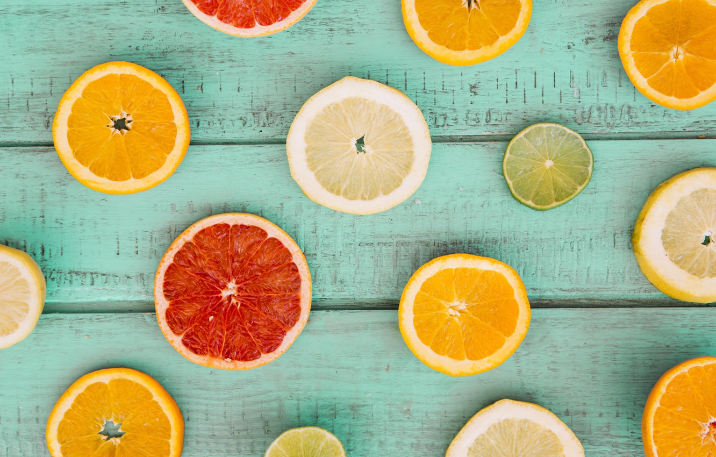 Photo wallpaper lemon, orange, lemon, fruit, wood, slices, grapefruit, fruit, orange, citrus, grapefruit, slice