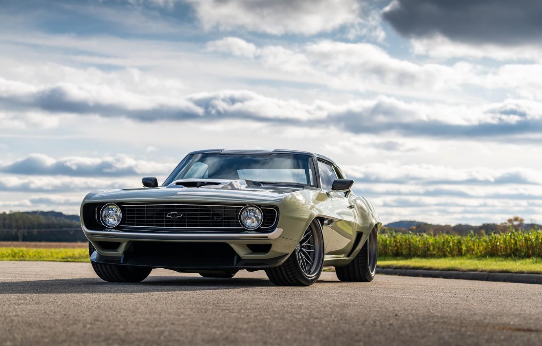 Photo wallpaper Road, Grass, Chevrolet, 1969, Camaro, Lights, Drives, Chevrolet Camaro, Muscle car, Classic car, Wide Body …
