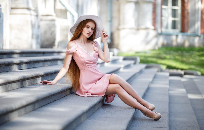 Wallpaper Girl Pose Style Hat Dress Stage Long Hair Maxim Romanov Maks Romanov Images For Desktop Section Devushki Download