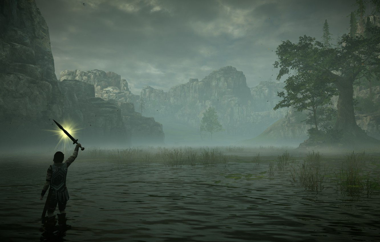 Photo wallpaper fog, swamp, Shadow of the Colossus, In the shadow of the colossus