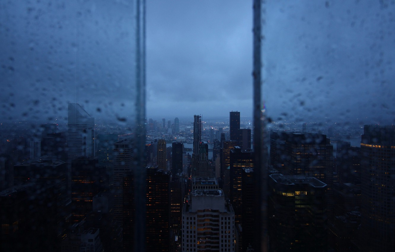 Wallpaper City Wallpaper Rain Window Skyscrapers Night City