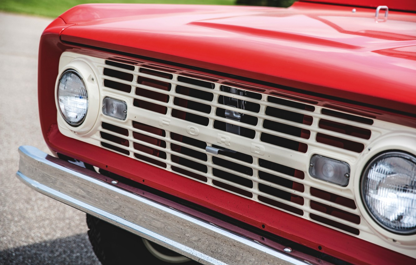 Photo wallpaper red, Roadster, Ford, grille, 1966, Bronco