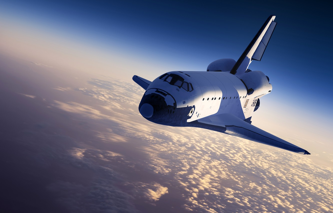 Photo wallpaper the sky, the sun, space, clouds, Earth, Shuttle, spaceship, Space Shuttle
