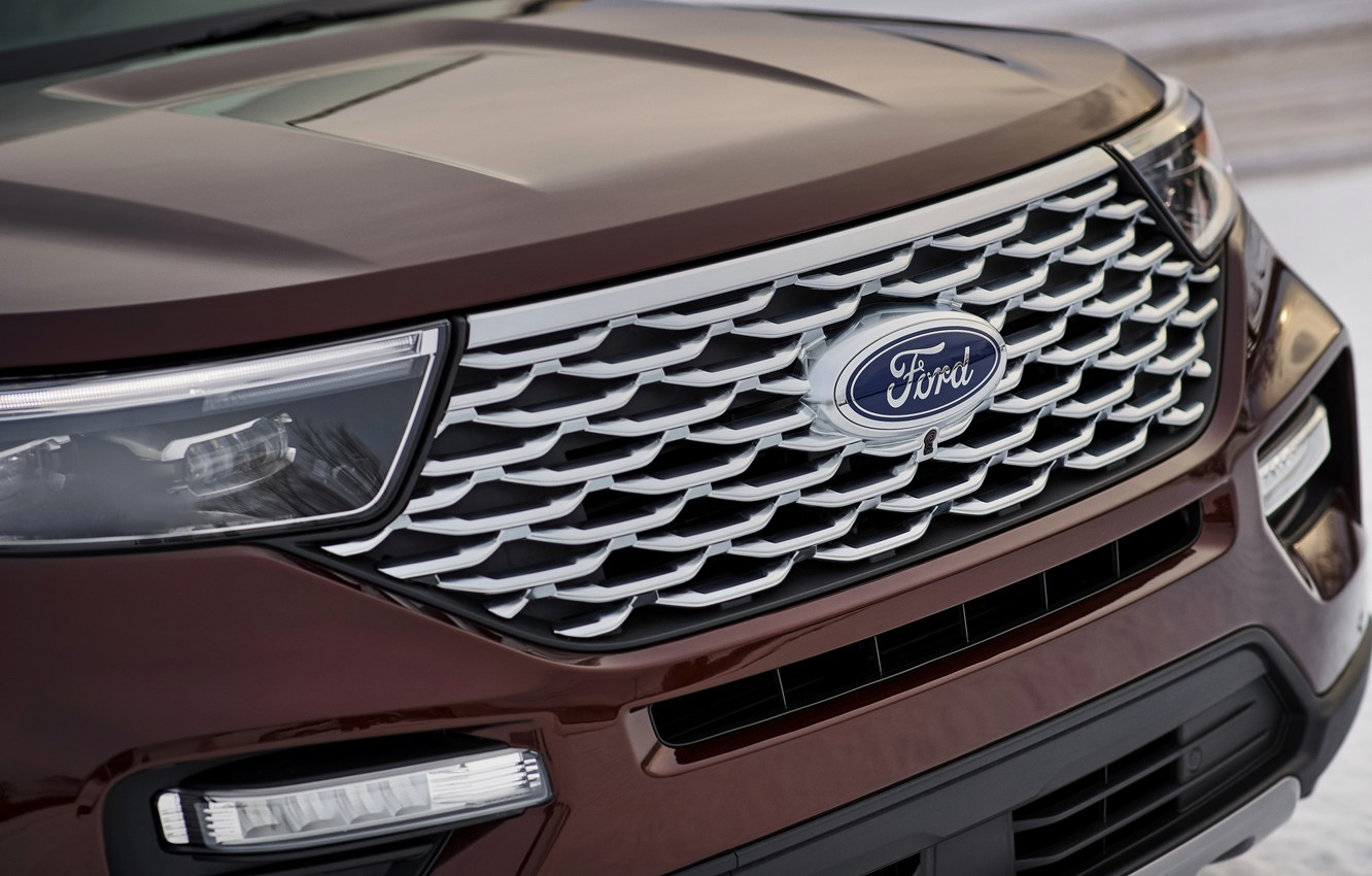 Photo wallpaper Ford, the hood, grille, SUV, Explorer, Platinum, 2020