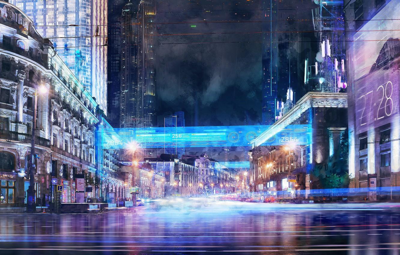 Photo wallpaper night, the city, lights, art, Music video concept, Iliya Klimov