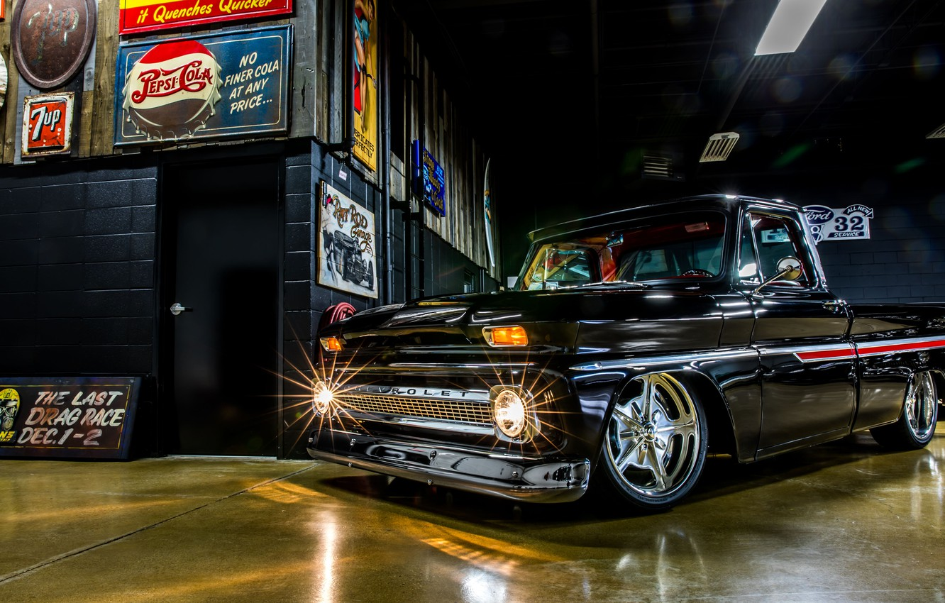 Photo wallpaper Chevrolet, Truck, Custom, Garage, Pick up, C10, Hoonigan