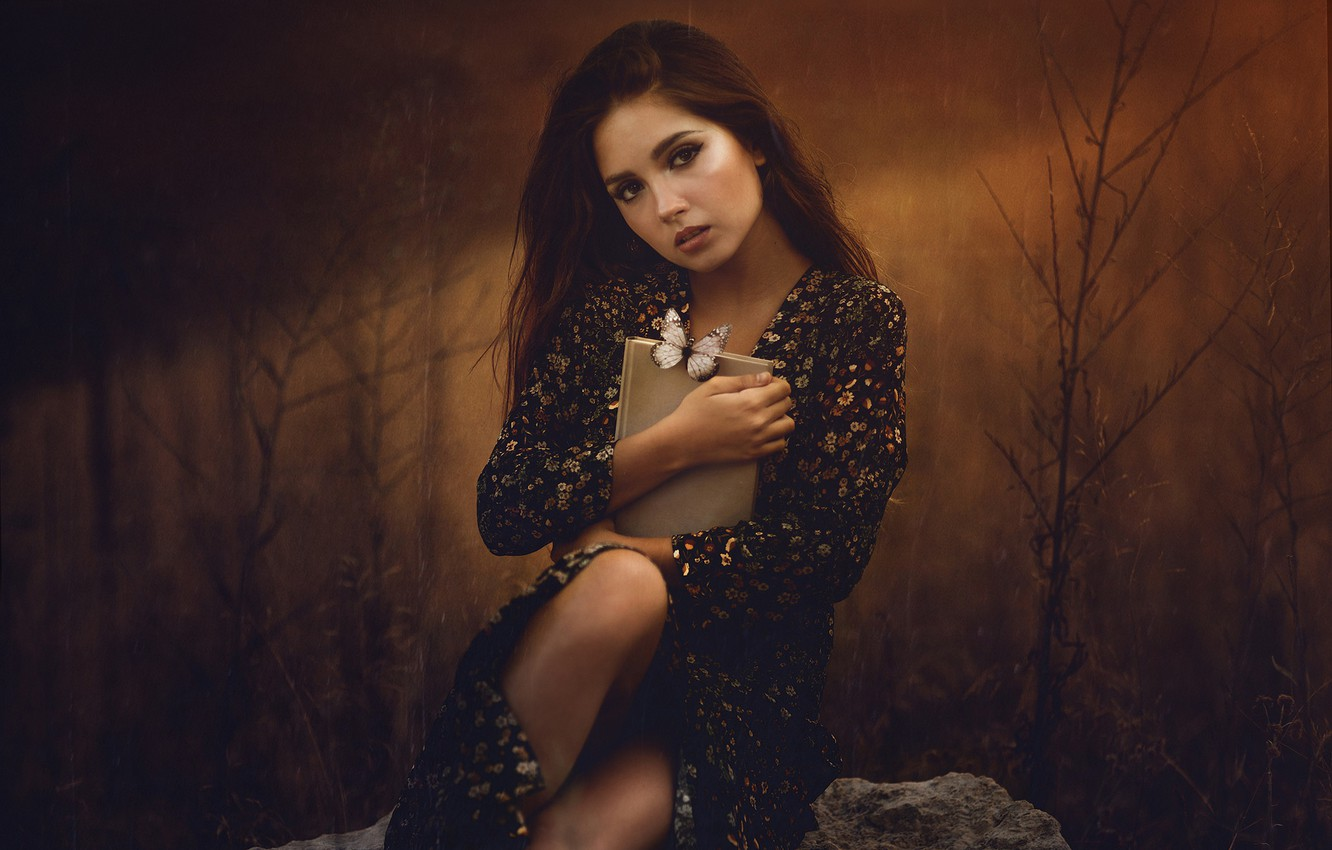 Photo wallpaper autumn, look, girl, branches, nature, face, pose, the dark background, stones, butterfly, feet, portrait, hands, ...