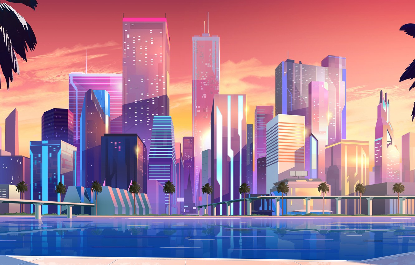 Photo wallpaper Sunset, Home, Sea, Music, The city, Neon, Shore, Promenade, Style, Palm trees, Building, Background, 80s, …