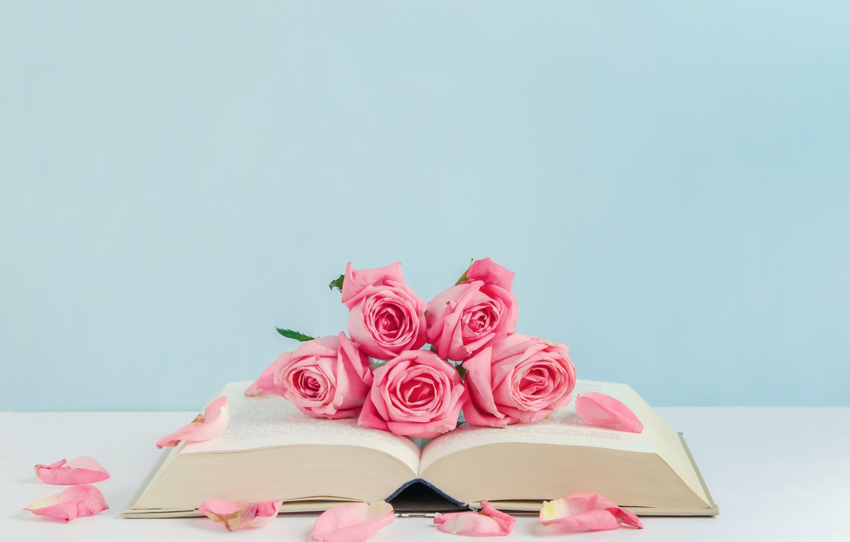 Photo wallpaper flowers, roses, petals, book, pink, buds, pink, flowers, romantic, petals, roses, cute