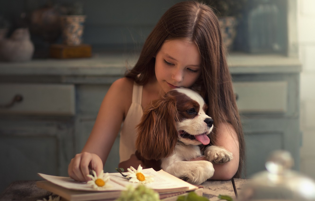 Photo wallpaper dog, girl, book