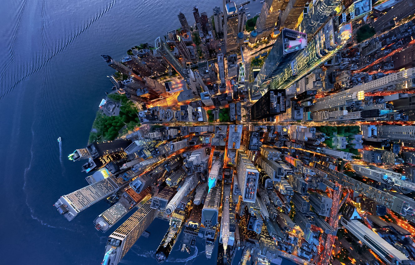 Photo wallpaper the city, USA, the view from the top, New York