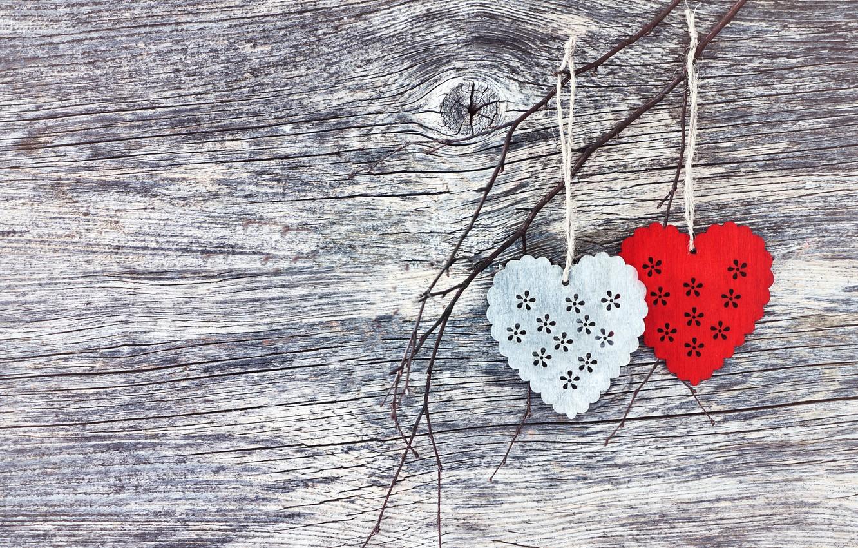 Photo wallpaper love, heart, hearts, red, love, wood, romantic, hearts, valentine's day