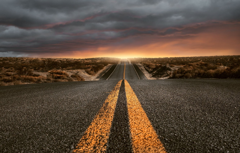 Photo wallpaper road, clouds, landscape, America