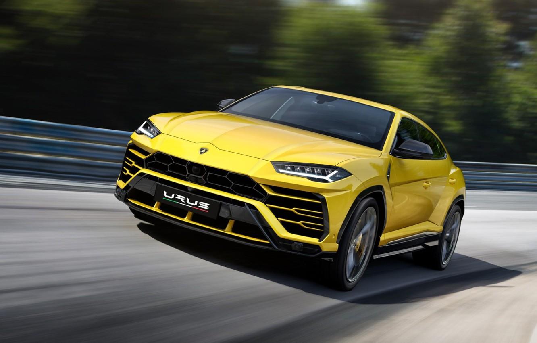 Photo wallpaper Lamborghini, SUV, supercar, sports, crossover, Urus, yellow car, Четырёхлитровый двигатель V8
