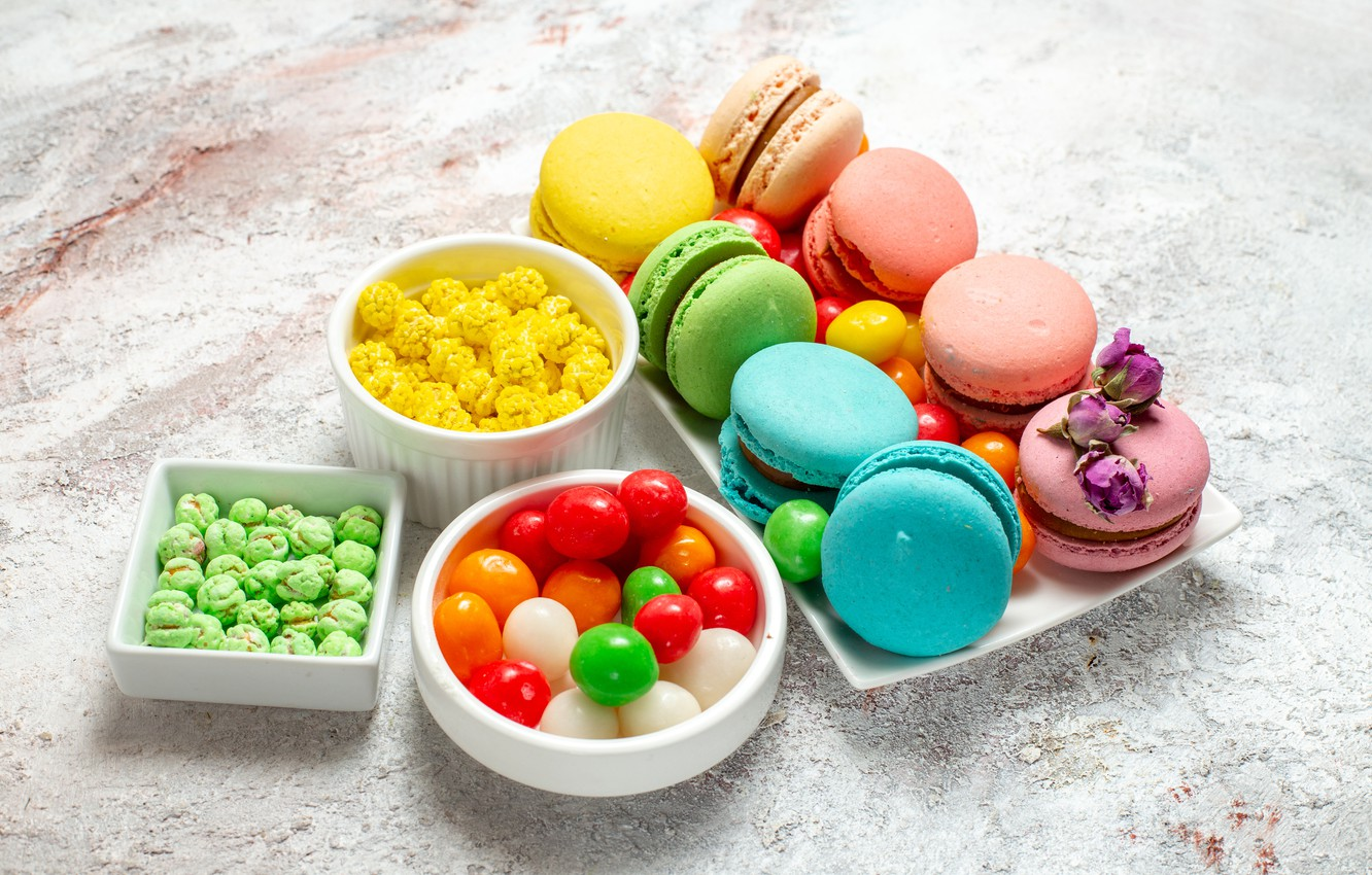 Photo wallpaper candy, sweets, pills, pasta