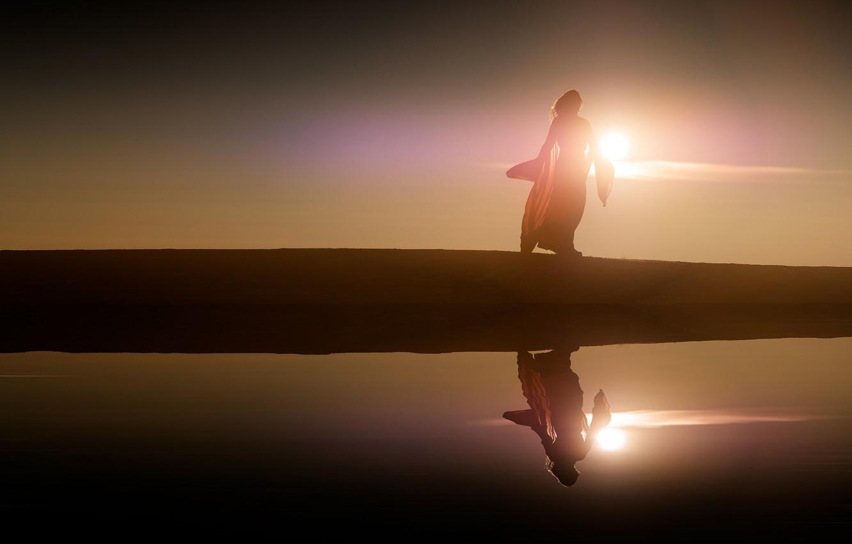 Photo wallpaper girl, the sun, light, reflection, shore, dress, silhouette, pond