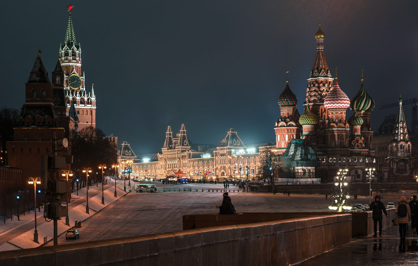 Photo wallpaper the city, the evening, lighting, Moscow, Cathedral, Spasskaya tower, dome, Red Square, GUM, Ли Си …