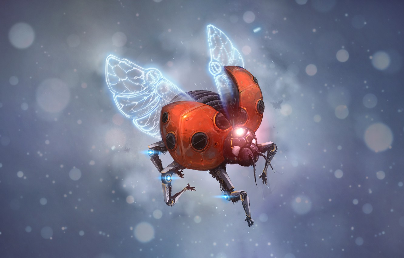 Wallpaper Flight, Style, Fantasy, Art, Ladybug, Art, Style, Fiction,  Fiction, Flying, Cyborg, Insect, Cyborg, Flies, Sci-Fi, Cyberpunk images  for desktop, section фантастика - download