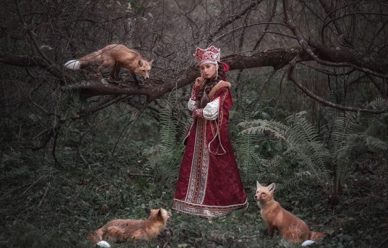Photo wallpaper forest, girl, outfit, Fox, Princess, Sophia Oznobishina