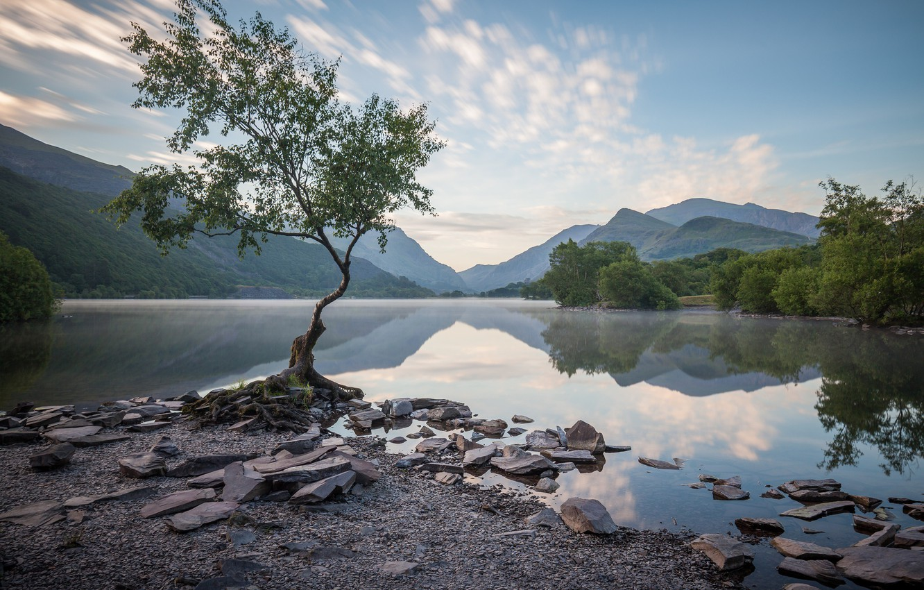 Photo wallpaper mountains, lake, tree, Wales